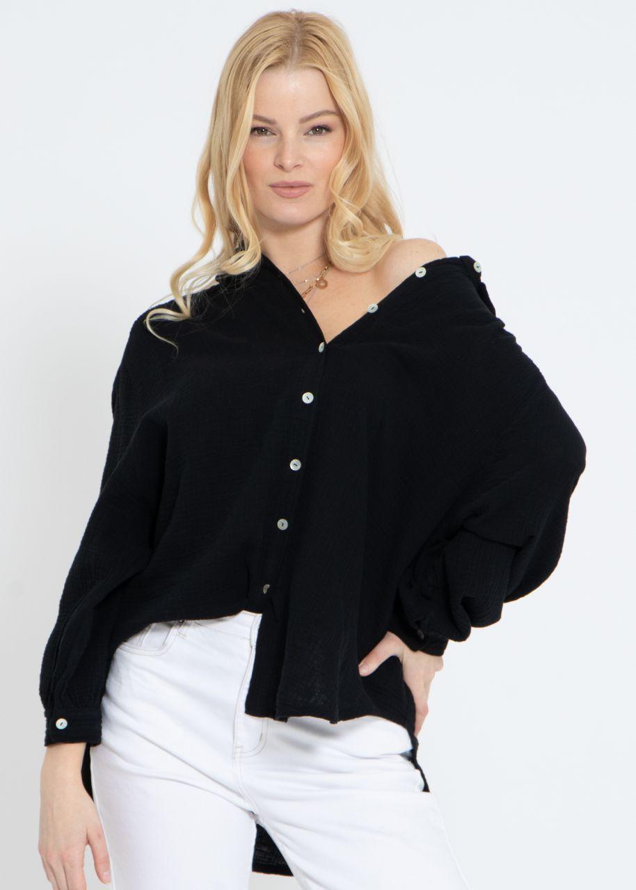 Ultra oversize Blusenhemd, kürzere Variante, schwarz