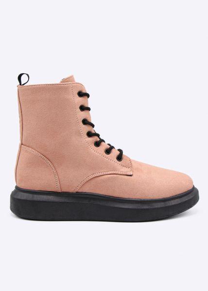 Schnür-Boots mit Plateau, rosa