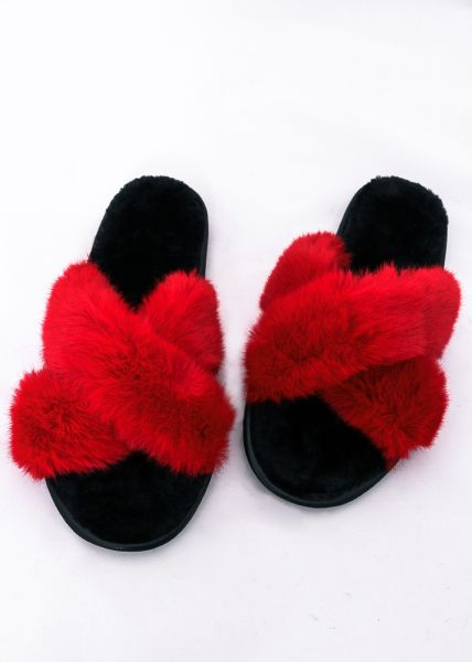 Fake Fur Sliders, rot
