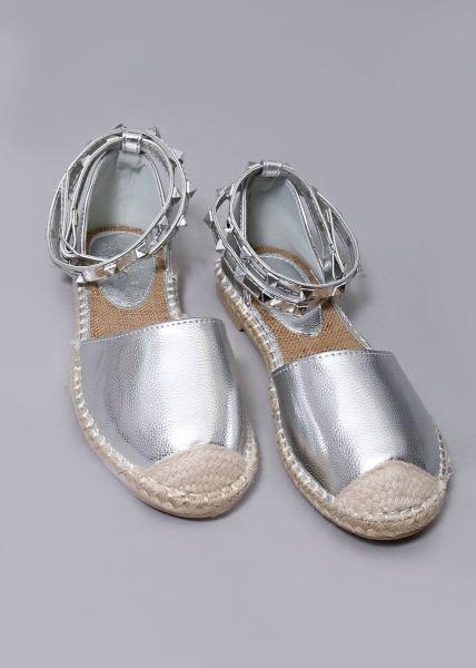 Espadrille Sandale, silber