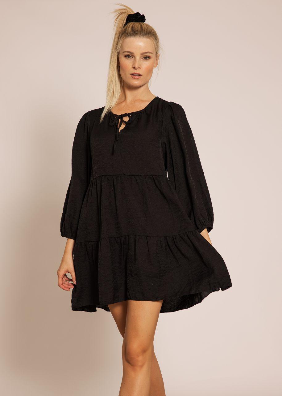 Hängerchenkleid mit leichtem Glanz, schwarz