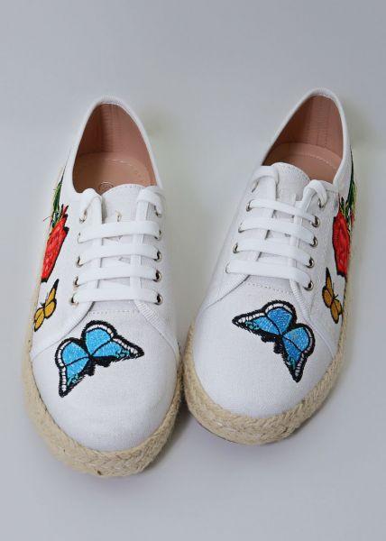 Sneakerdrilles mit Schmetterlingen, weiß