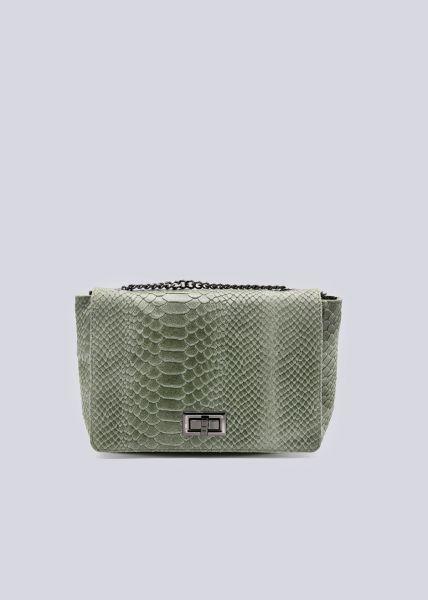 Leder-Tasche mit Krokoprägung, khaki