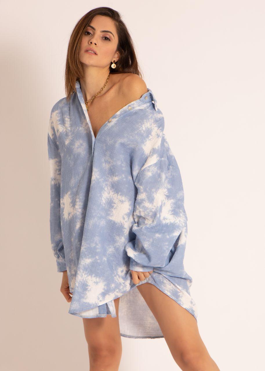 Ultra oversize Blusenhemd mit Batik-Print, blau
