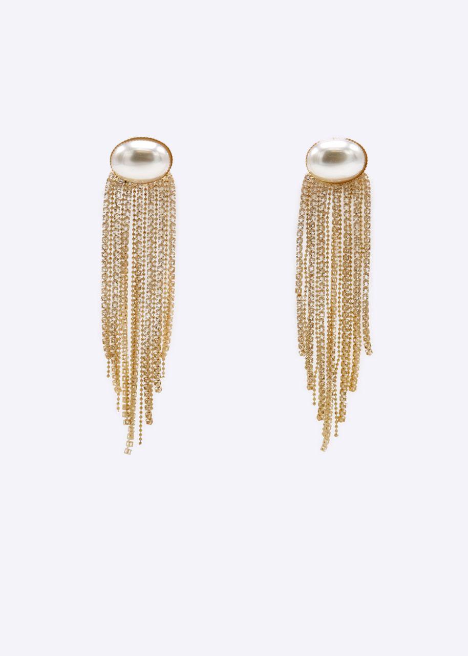 Ohrstecker mit Perle und funkelnden Ketten, gold