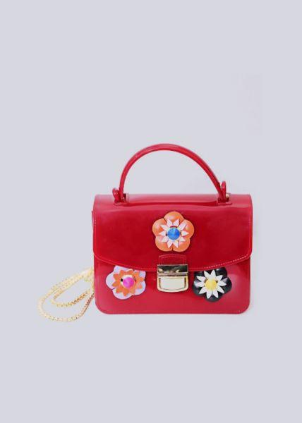 Mini-Bag mit Blüten, rot