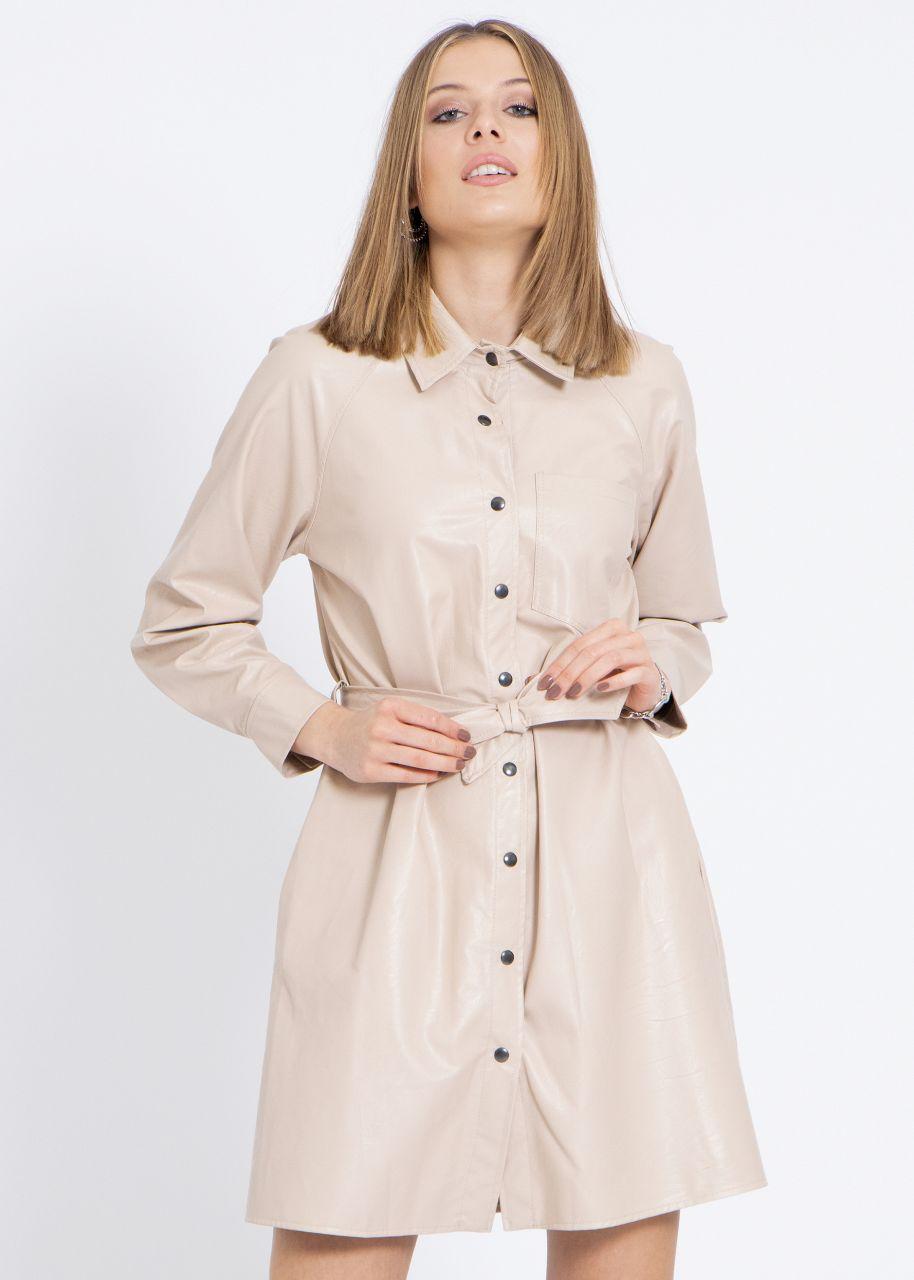 Leder-Kleid, beige