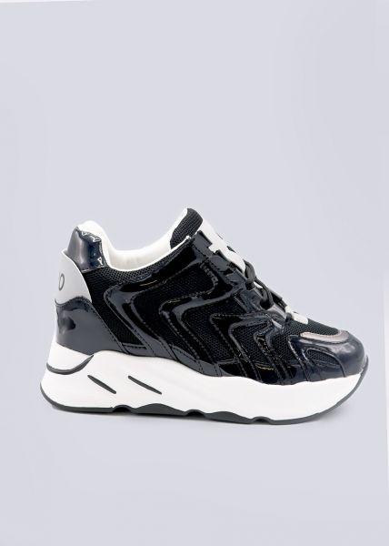 Sneakers mit Plateau, schwarz