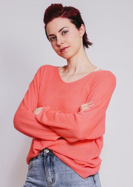 Langer Pullover mit weitem V-Ausschnitt, korallenrot