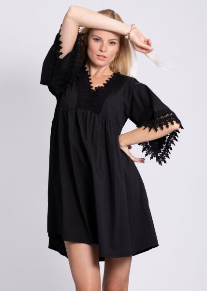 Tunika-Kleid mit Spitze, schwarz