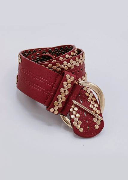 Gürtel mit goldenen Nieten, rot