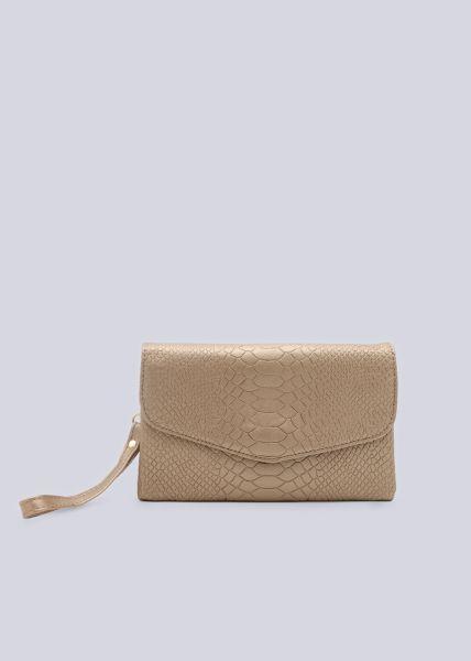 Kleine Überschlagtasche in Snake-Print, gold