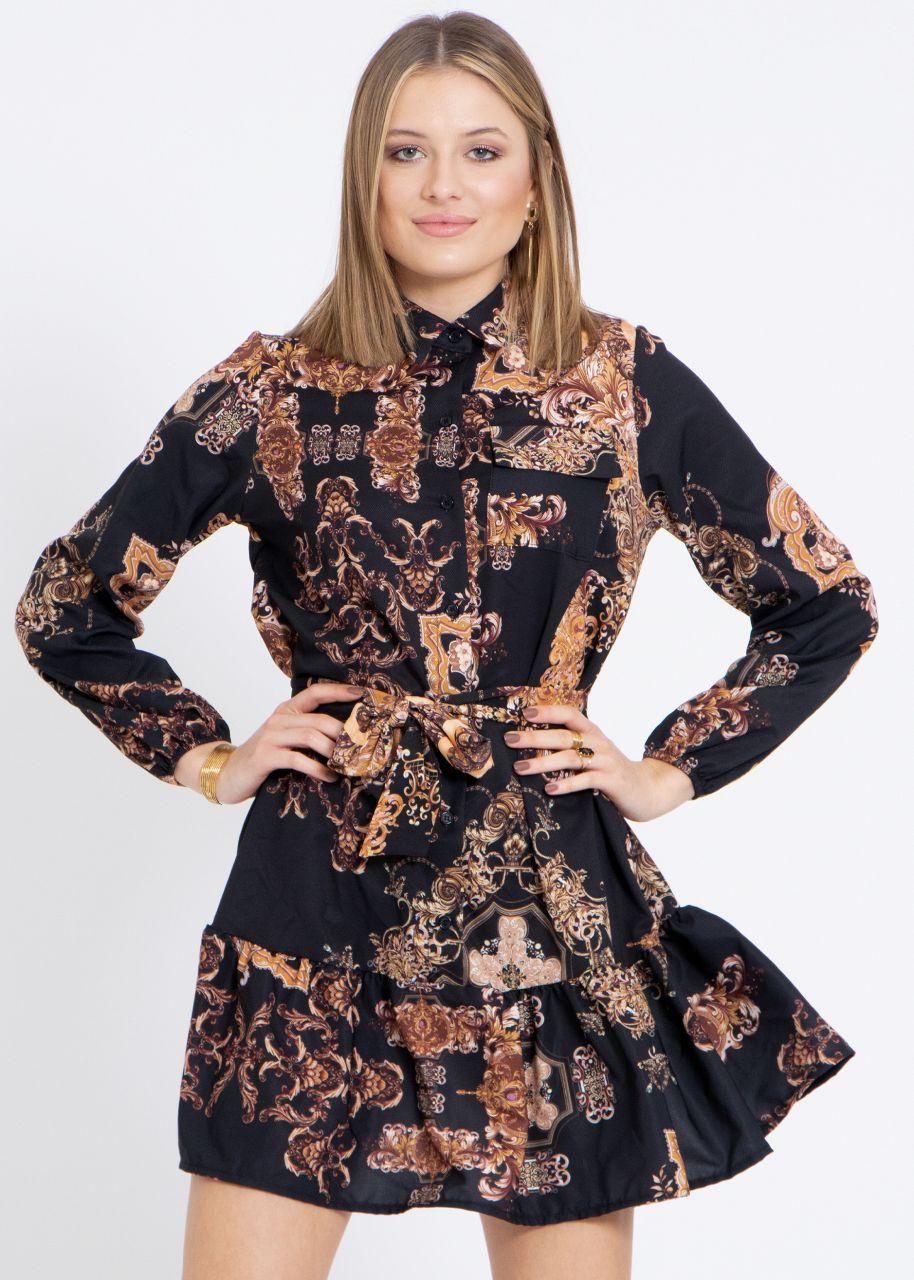 Hängerchenkleid mit Print, schwarz