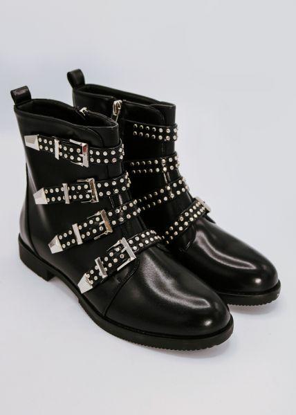 Boots mit silbernen Schnallen, schwarz