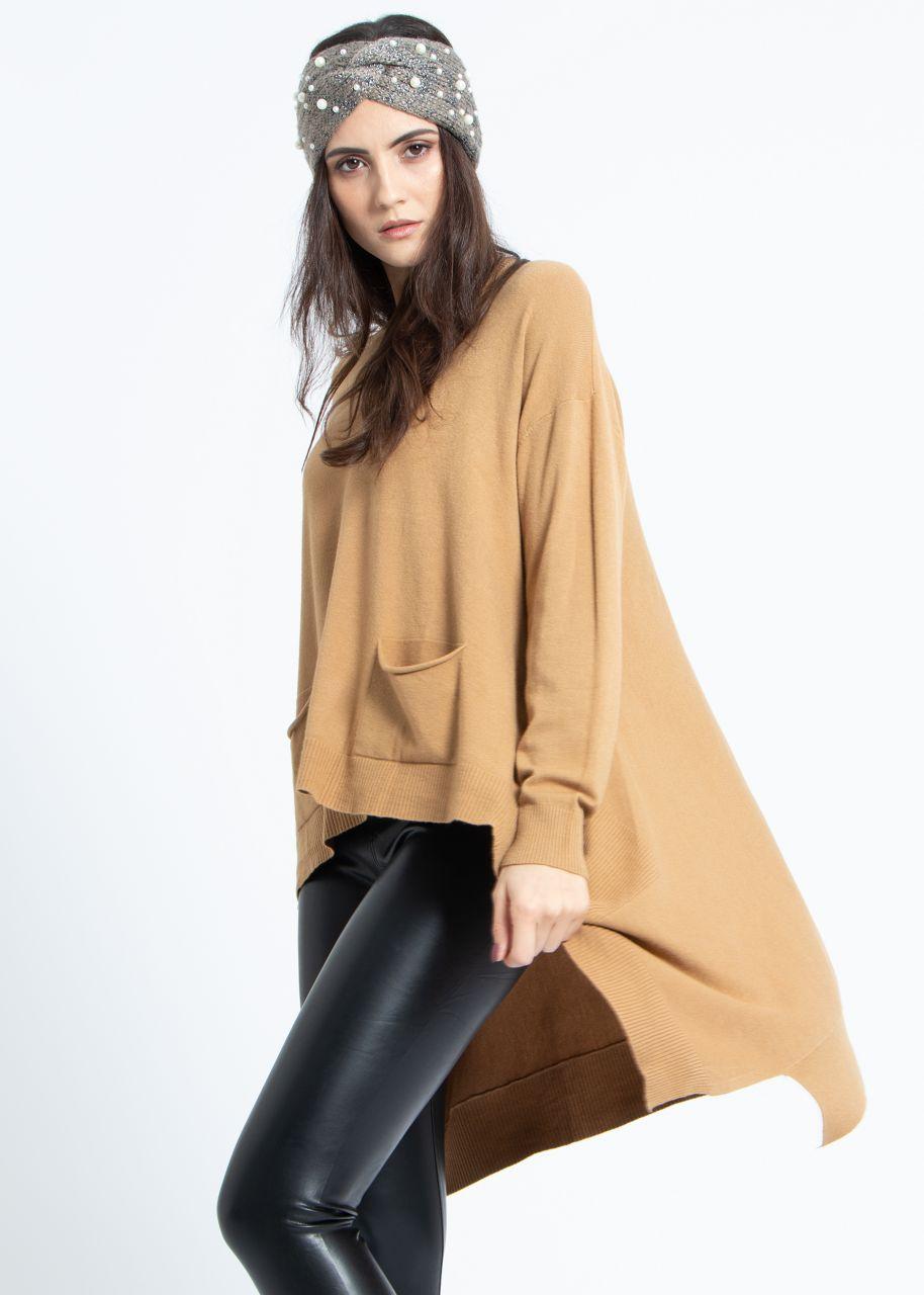 Oversize Pullover, hinten lang, camel