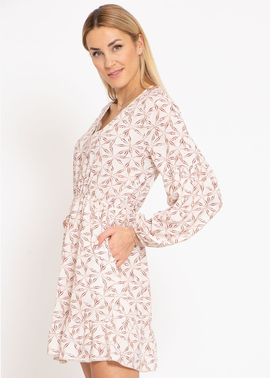 Kleid mit Print, beige