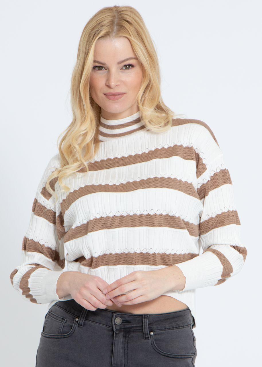 Leichter Pullover mit Streifen, camel/weiß