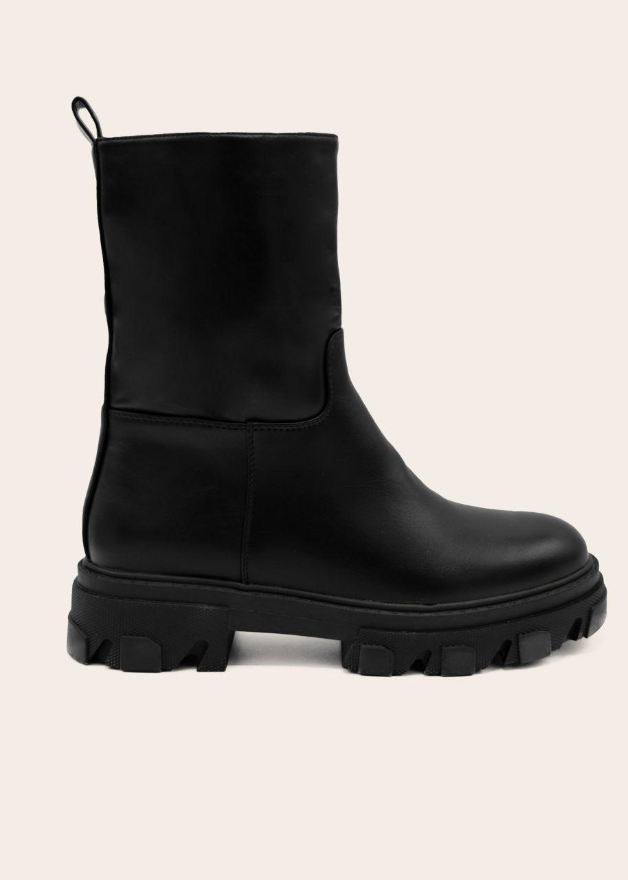Plateau Boots mit grober Sohle, schwarz