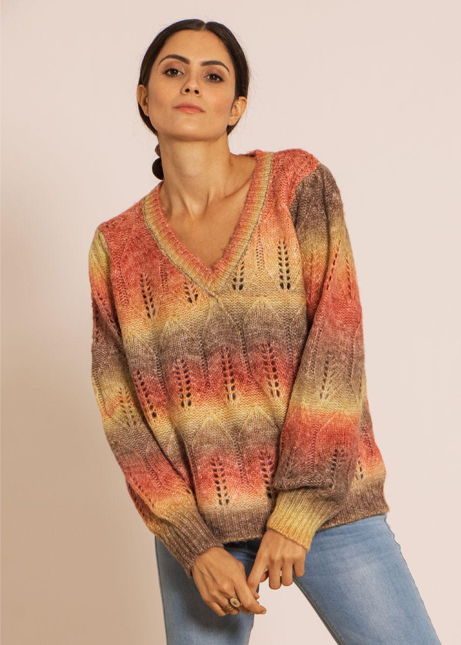 Oversize Pullover mit Farbverlauf, rot/gelb/braun