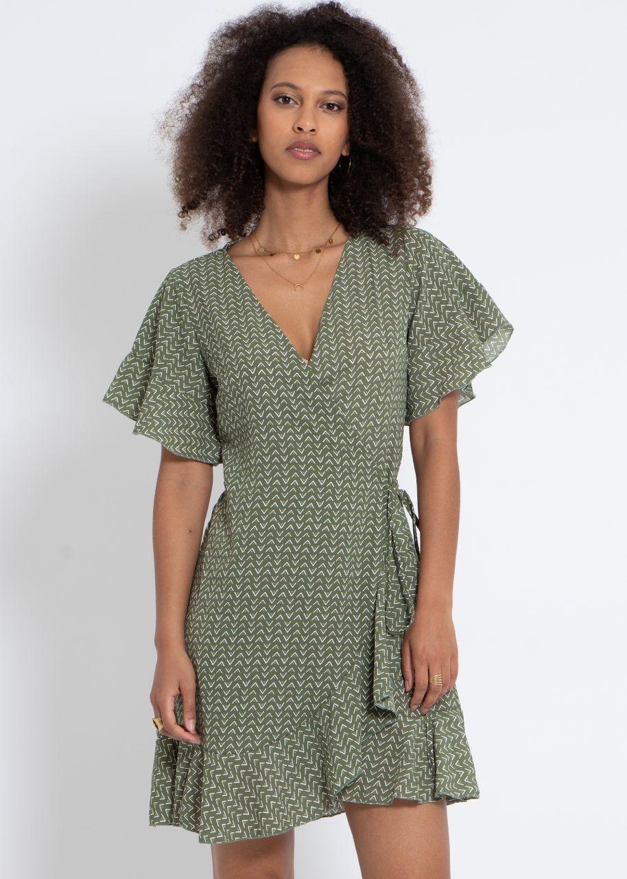 Wickelkleid mit Print, khaki
