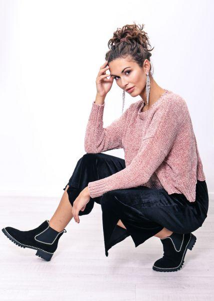 Crop-Pullover aus Chenille, rosa