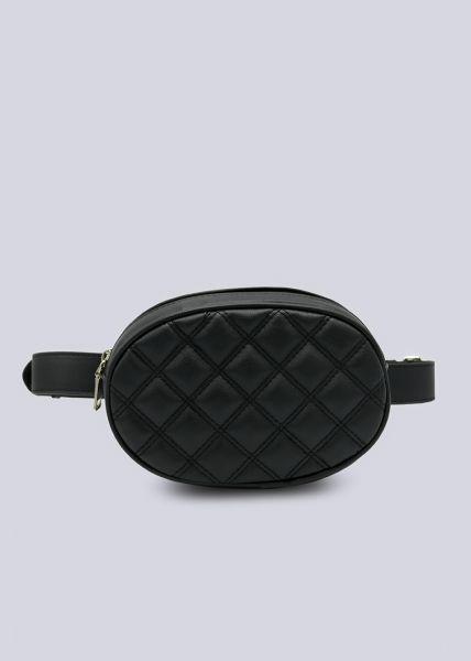 Ovale Gürteltasche in Rautenstepp, schwarz