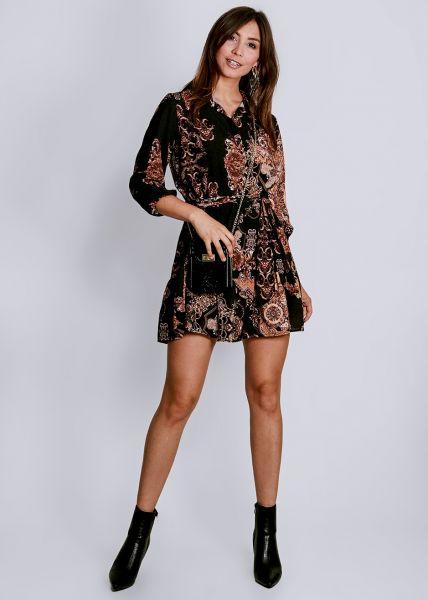 Hängerchenkleid mit Print, schwarz/cognac