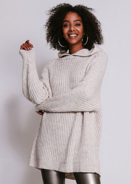 Oversize Pullover mit Hoodie, beige