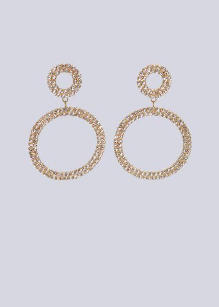Funkelnder Ohrstecker mit hängendem Kreis, gold