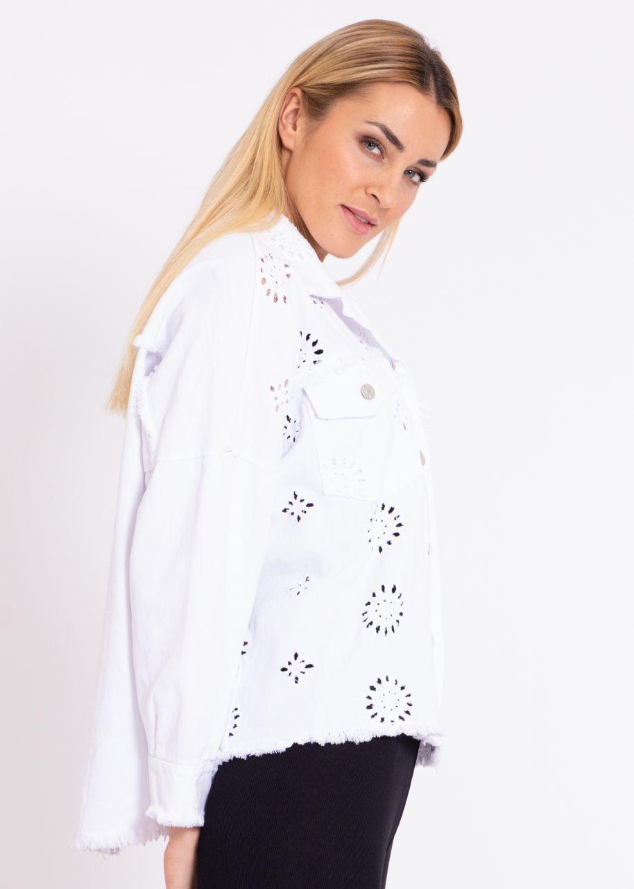 Oversize Jacke mit Spitzen-Muster, weiß