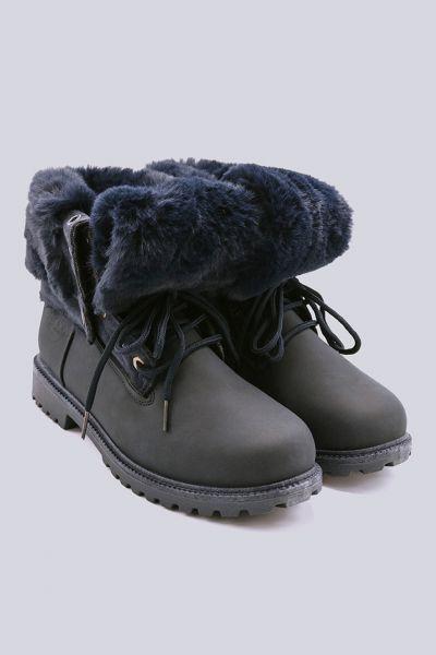 Schnür-Boots mit Fell, blau