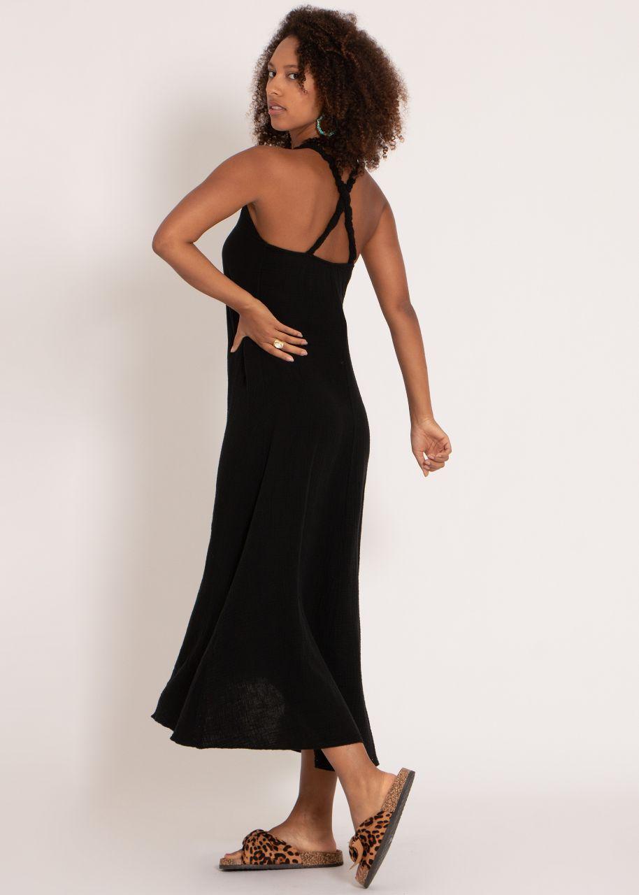 Musselin Maxi Kleid mit Trägern, schwarz