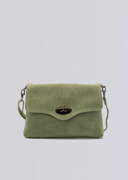 Veloursleder-Tasche, hellgrün