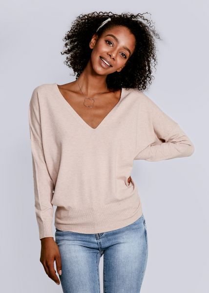 Pullover mit tiefem V-Ausschnitt, beige