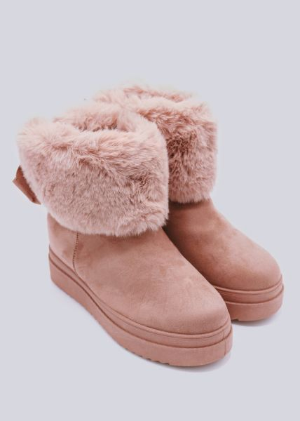 Winter-Boots mit Plateau, rosa