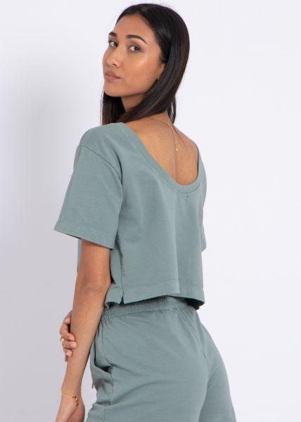 Kastiges T-Shirt mit Rückenausschnitt, grün