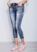 Knöchellange Skinny Jeans mit Perlen und Strass