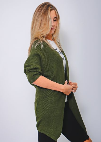 Cardigan, olivgrün