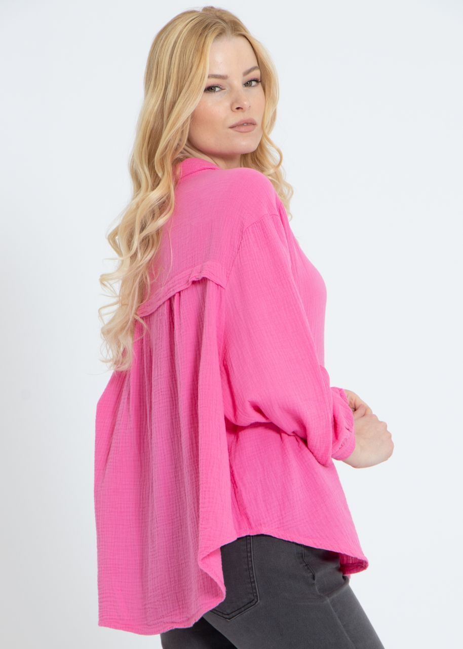 Ultra oversize Blusenhemd, kürzere Variante, pink