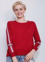 Pullover mit farbigen Blenden, rot