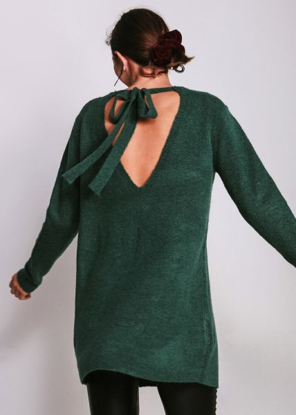 Oversize Pullover mit Schleife, grün