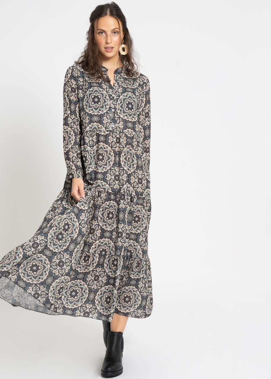 Midi Hängerchenkleid mit Print, grau/blau