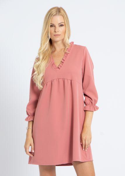 Kleid mit Rüschen-Ausschnitt, rosa