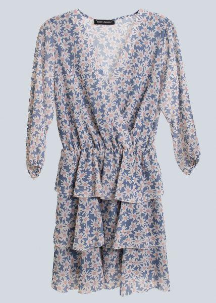 Blumen-Kleid mit Volants-Rock, hellblau