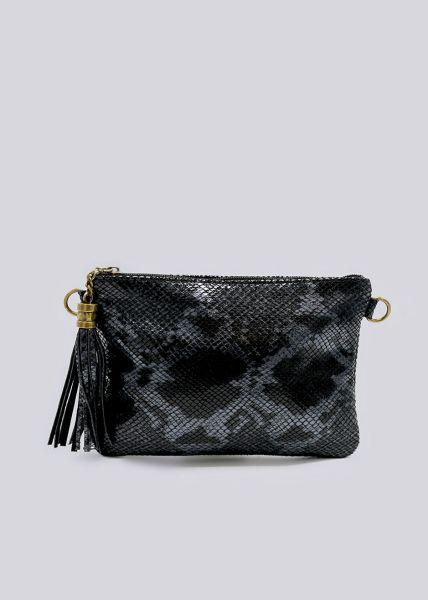 Leder-Tasche mit Snake-Prägung, schwarz
