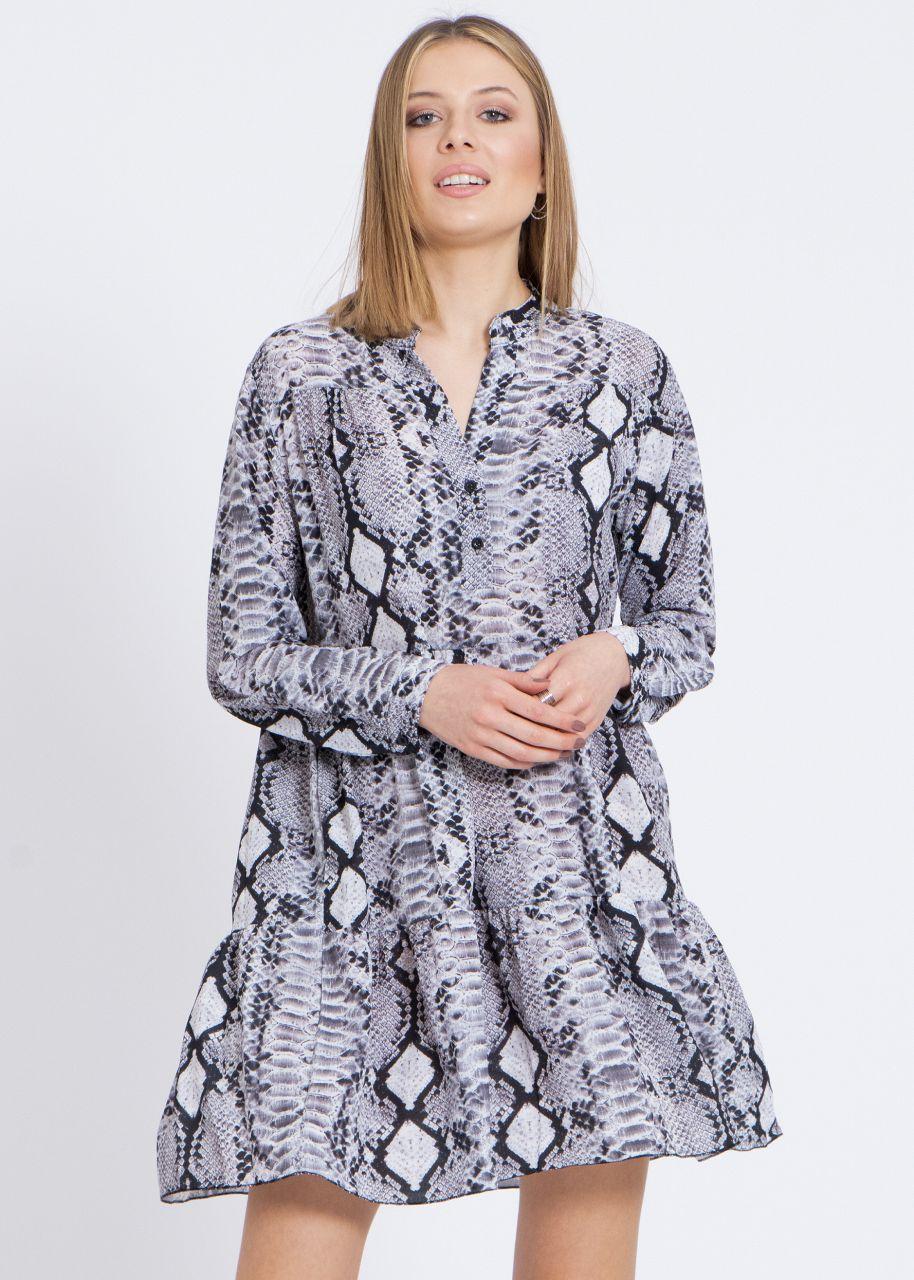 Hängerchenkleid mit Snake-Print, grau