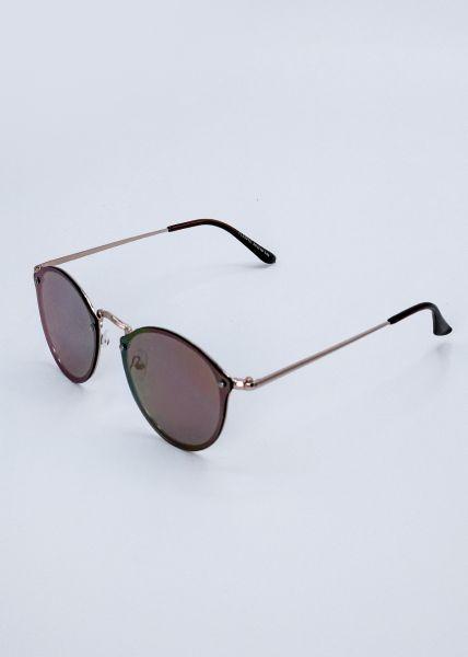 Sonnenbrille mit Spiegelgläsern, nude/rosa