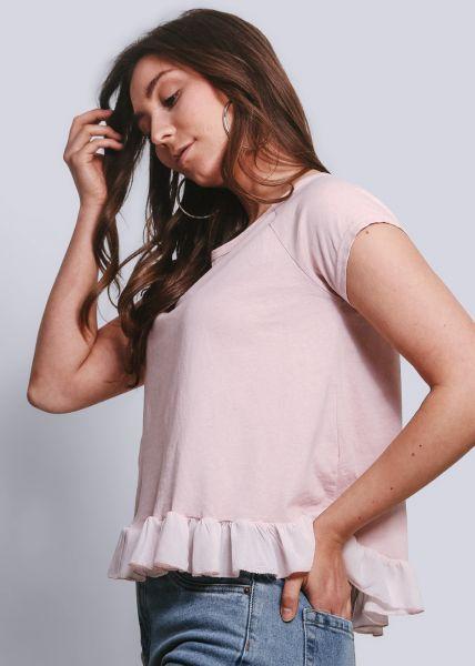 T-Shirt mit Rüschenabschluss, rosa
