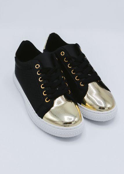 Sneaker mit goldener Kappe, schwarz