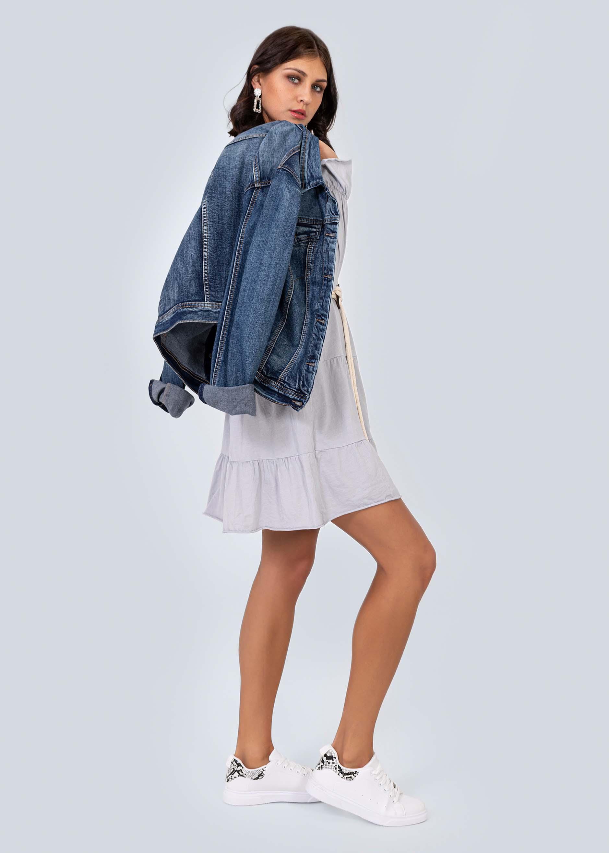 Jersey-Kleid mit Gürtel, grau | Kleider | Bekleidung ...